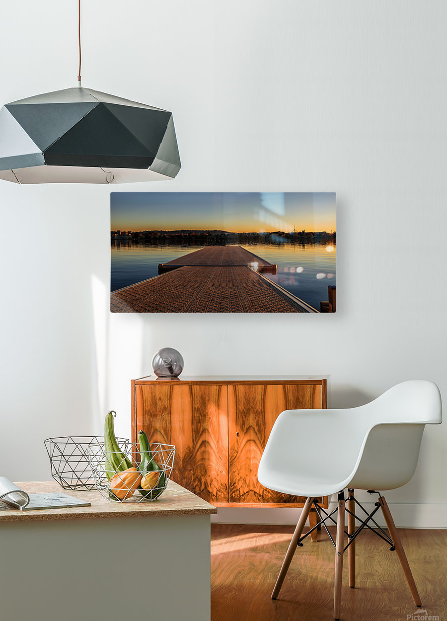 Dock at sunset  HD Metal print with Floating Frame on Back