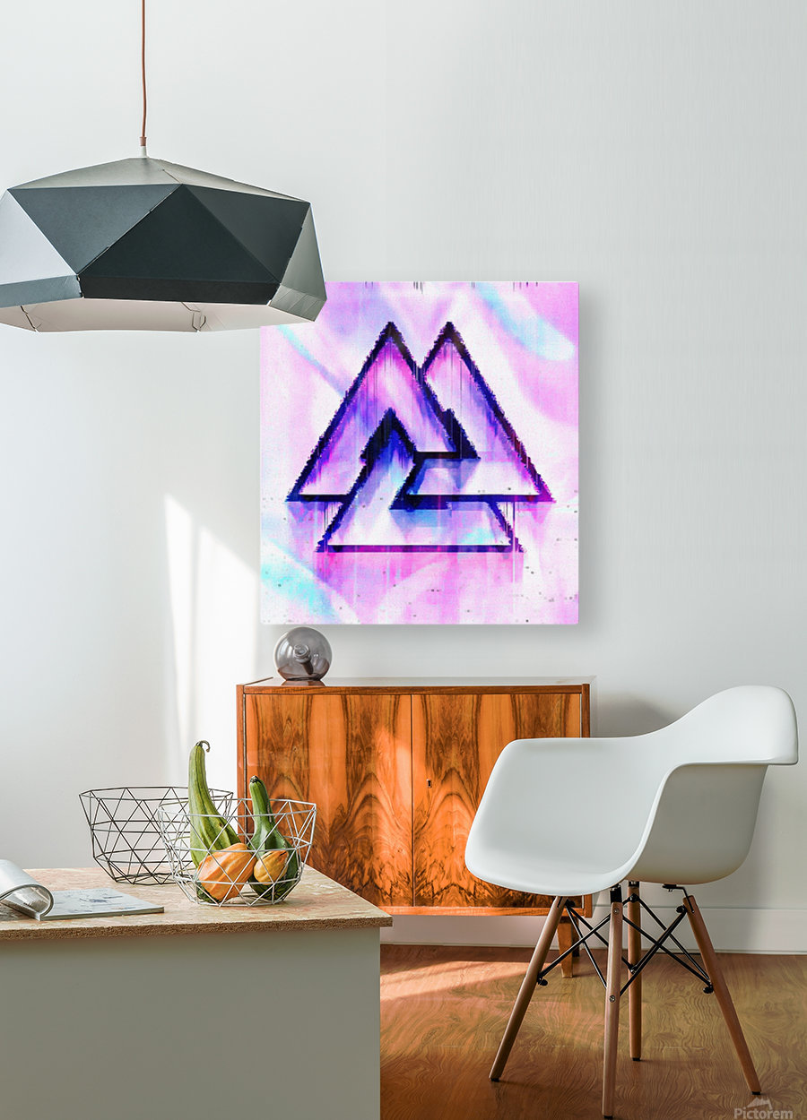 Valknut Light & Colorful  HD Metal print with Floating Frame on Back