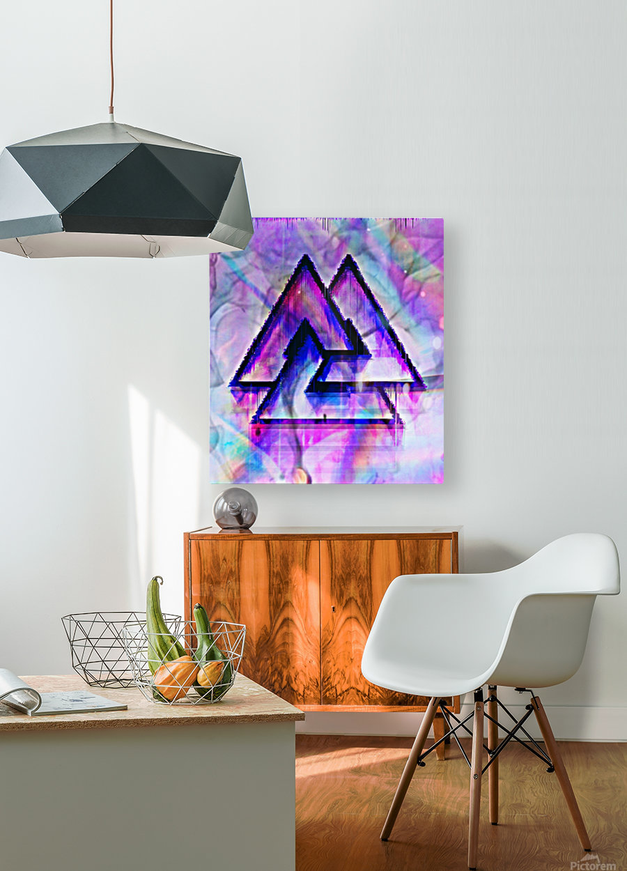 Valknut Colorful  HD Metal print with Floating Frame on Back