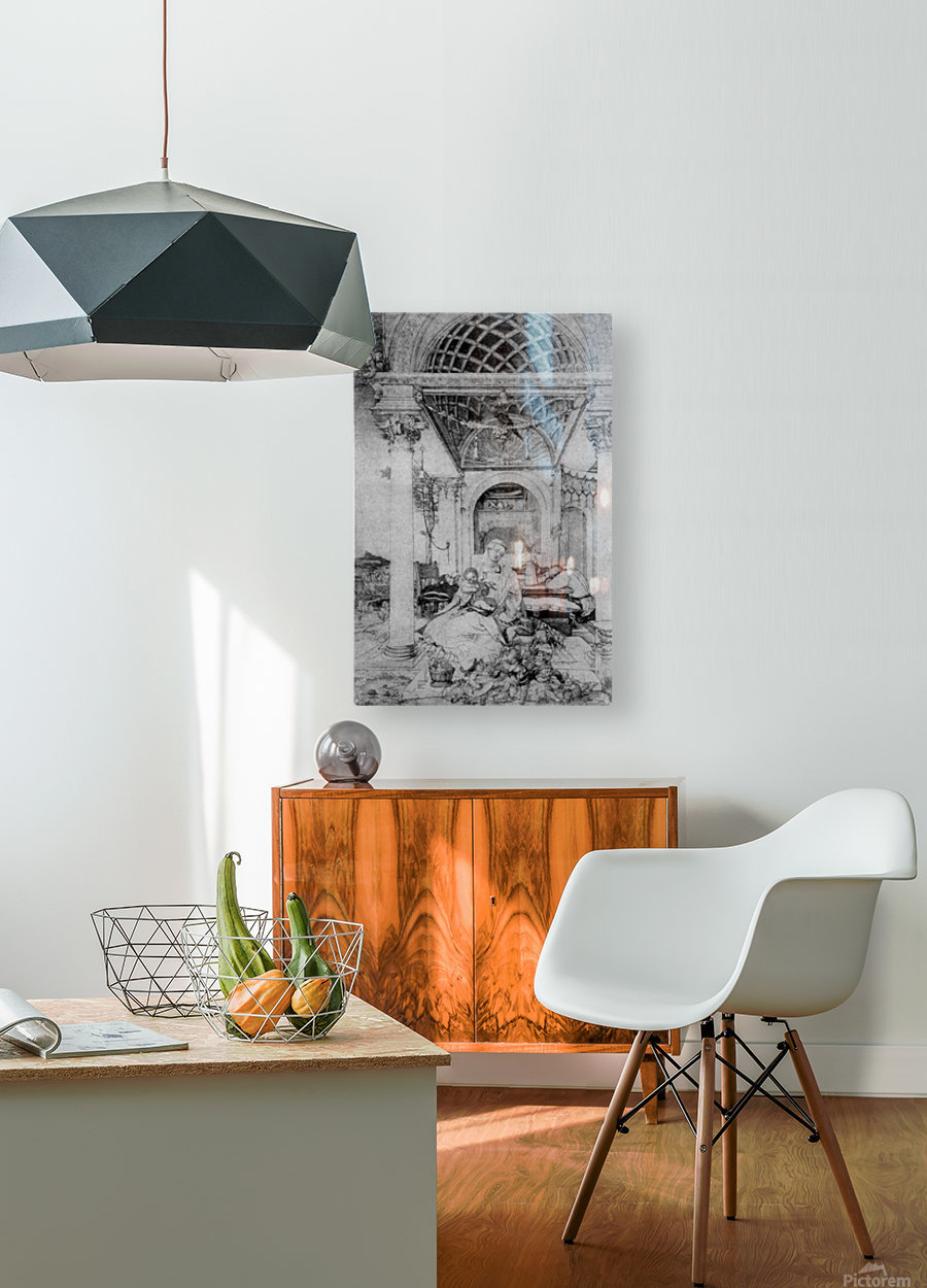 The holy family in a hall  HD Metal print with Floating Frame on Back