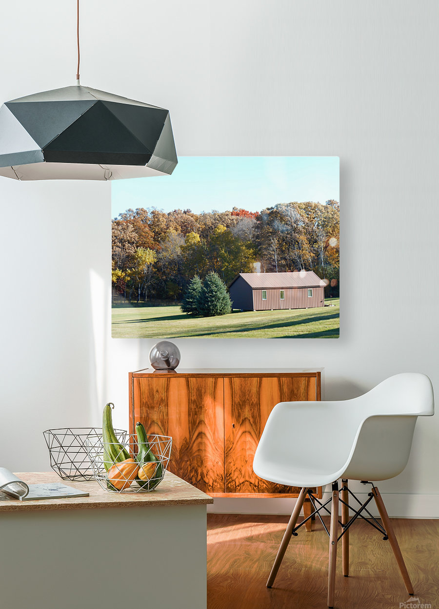 Pole Barn in Fall  HD Metal print with Floating Frame on Back