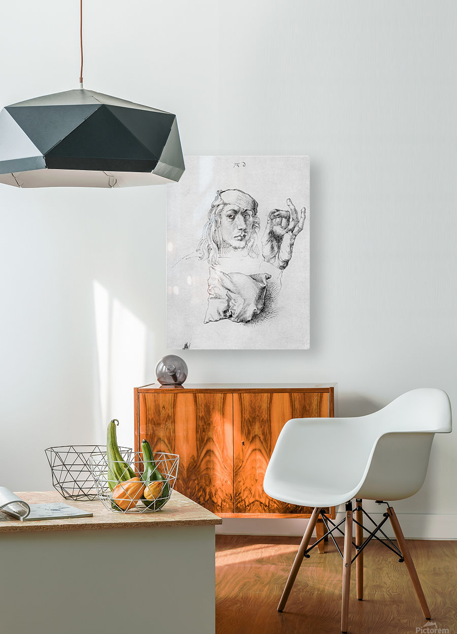 Study sheet with self-portrait, hand, and cushions  HD Metal print with Floating Frame on Back