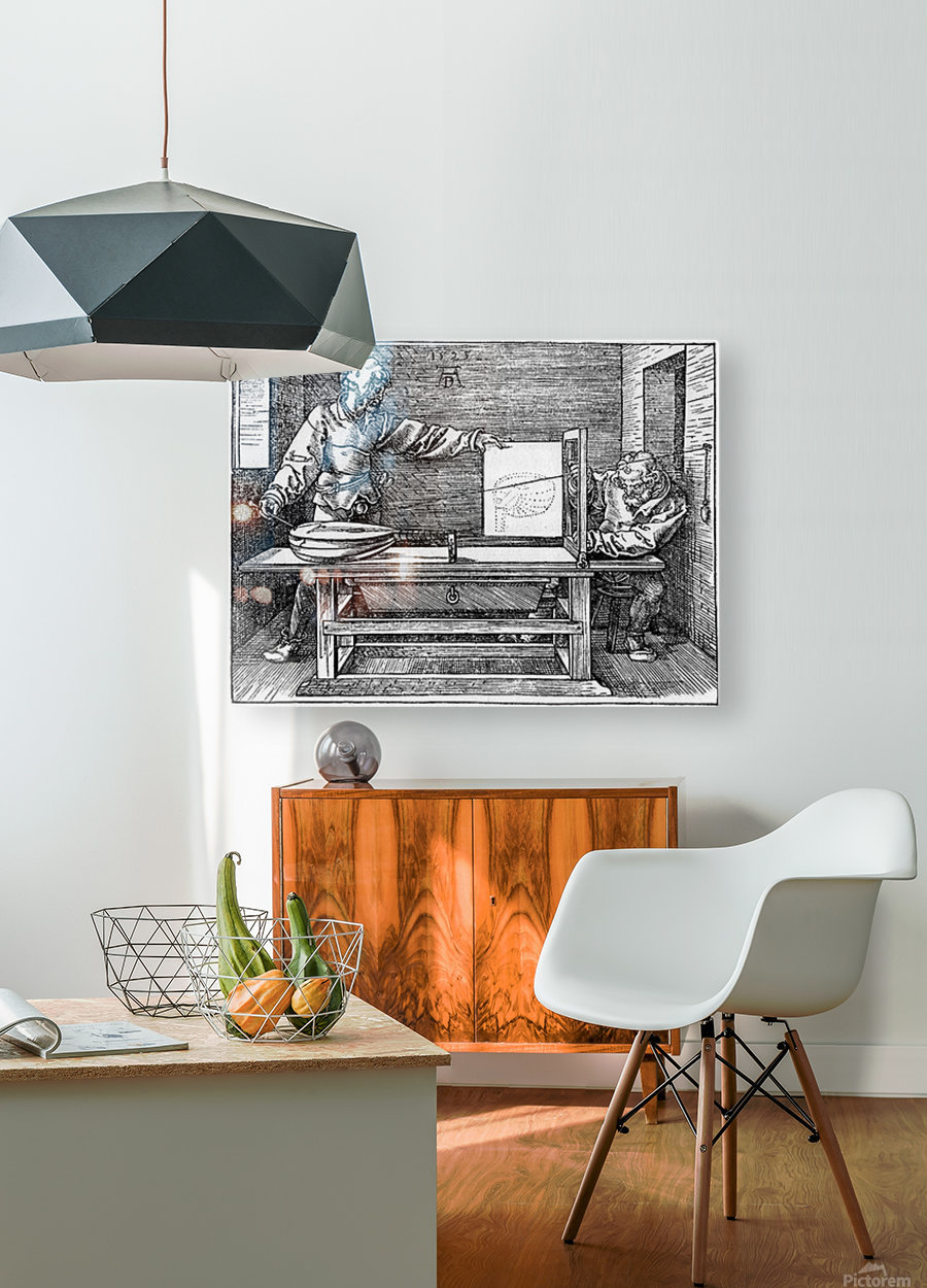 Man drawing a Lute  HD Metal print with Floating Frame on Back