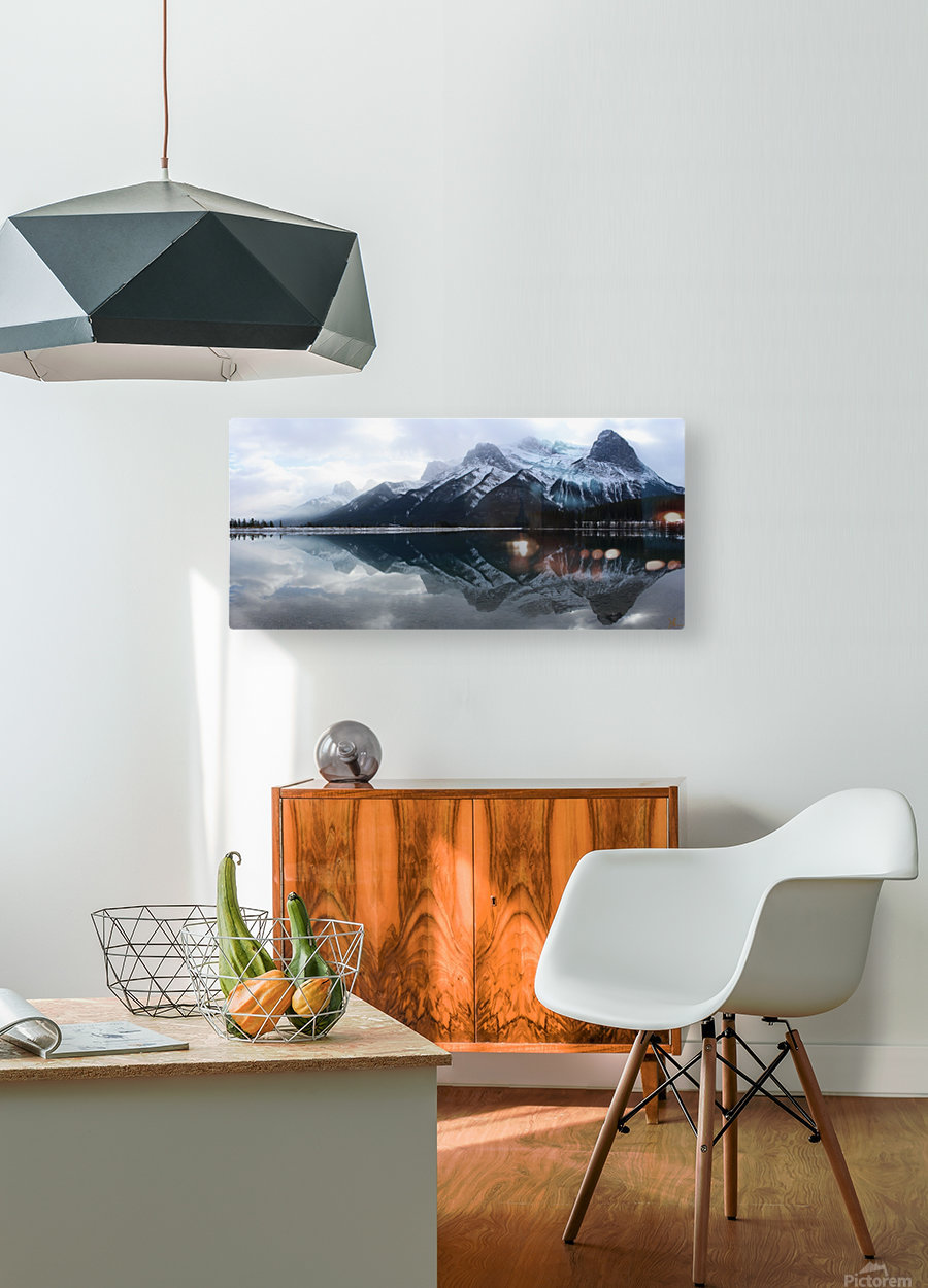 Canmore Winter Mountain Panorama  HD Metal print with Floating Frame on Back