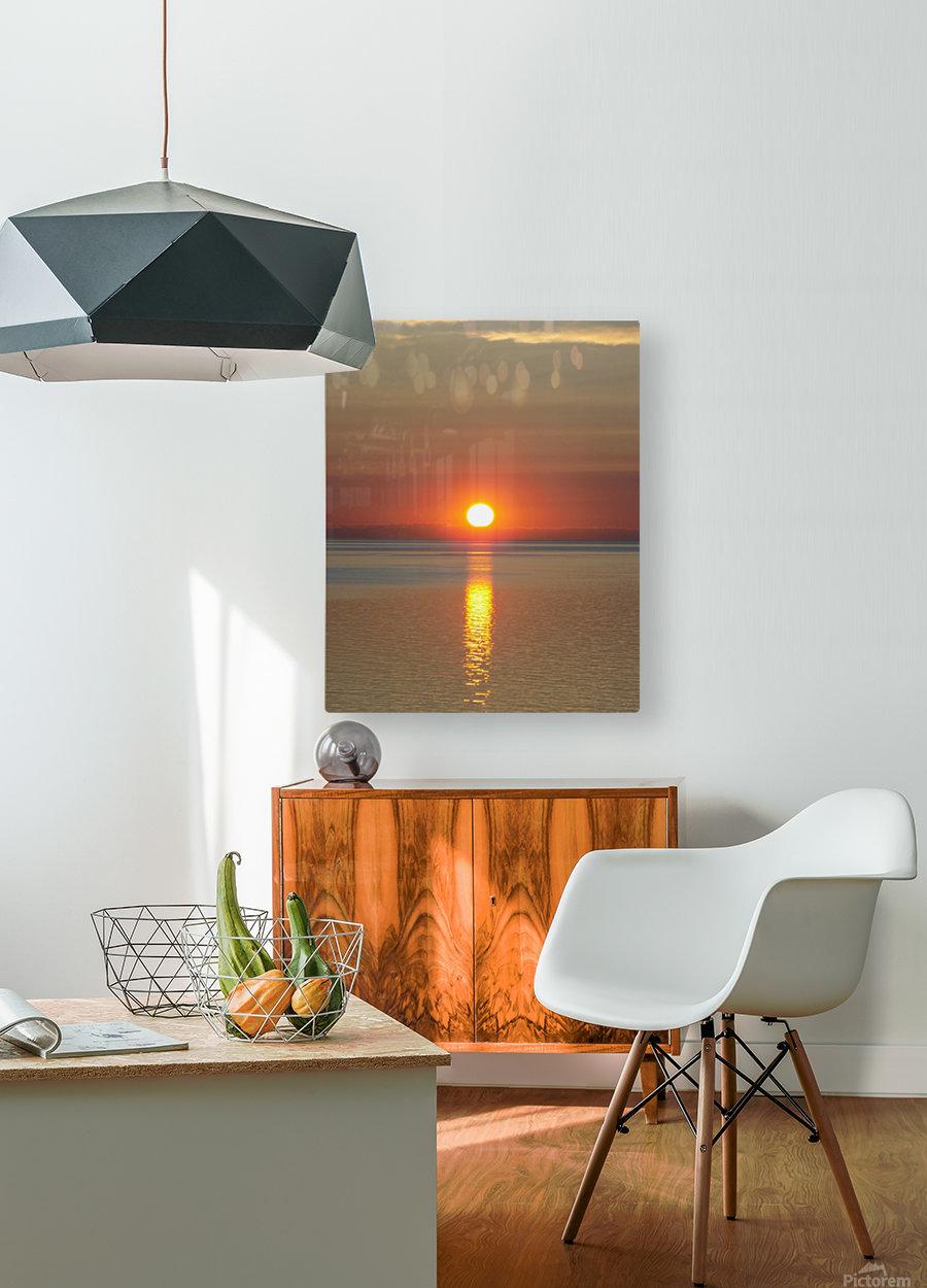 Orange Sunset Vertical  HD Metal print with Floating Frame on Back