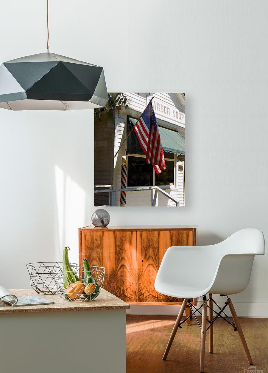 Patriotic Barber Shop  HD Metal print with Floating Frame on Back