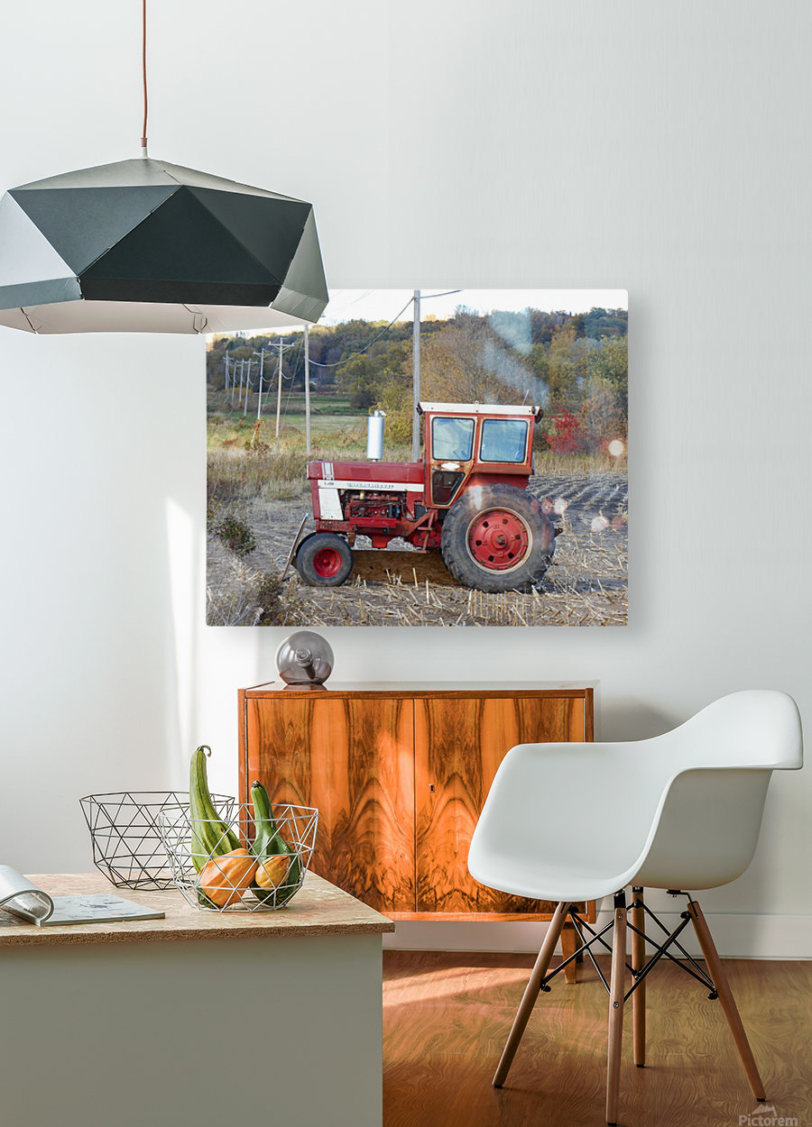 Tractor and Telephone Poles  HD Metal print with Floating Frame on Back