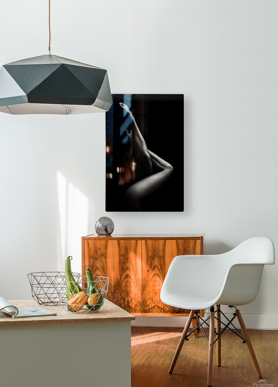 Legs in Fishnet Stockings 1  HD Metal print with Floating Frame on Back