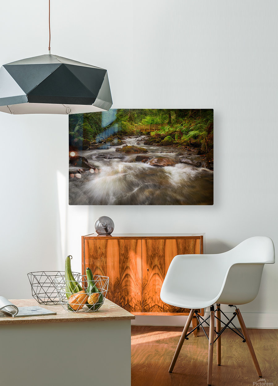 The wooden bridge over the river Melin  HD Metal print with Floating Frame on Back