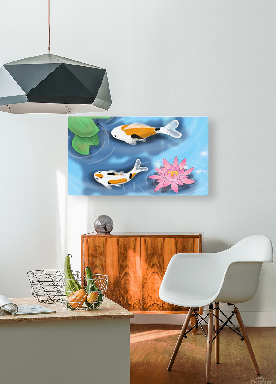 Cartoon Koi fish  HD Metal print with Floating Frame on Back
