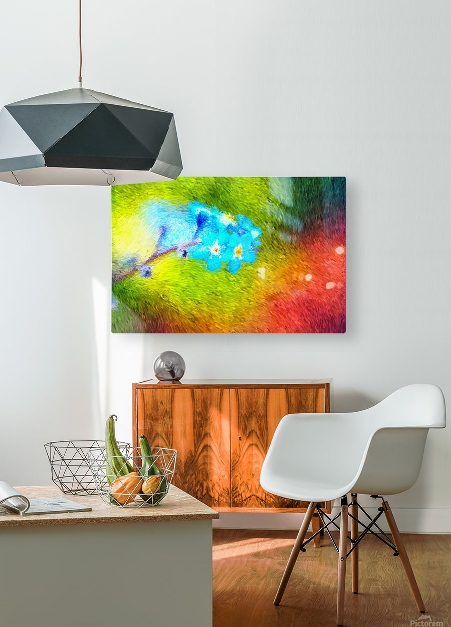 Forget Me Nots In The Wild   HD Metal print with Floating Frame on Back