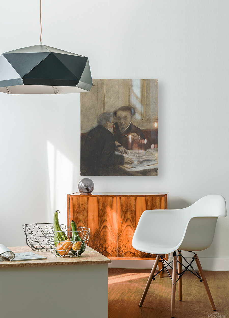 At the Café Châteaudun  HD Metal print with Floating Frame on Back