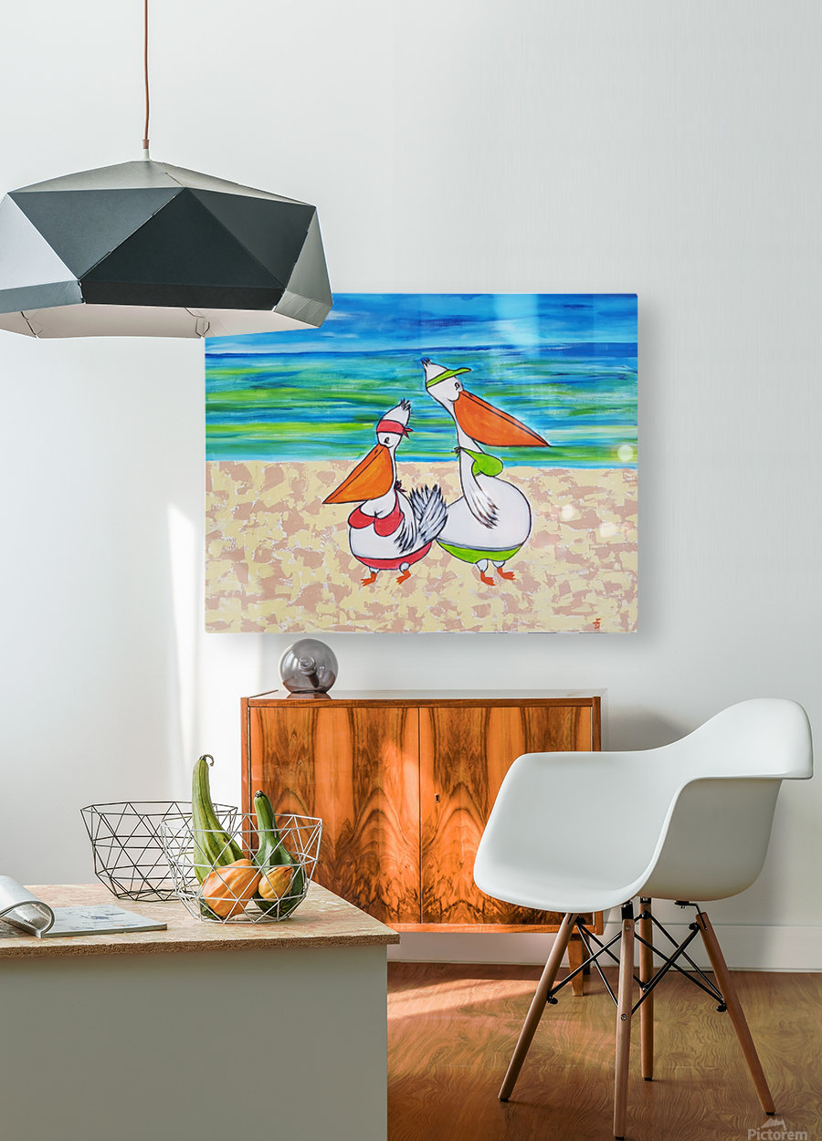 Pelican Mothers  HD Metal print with Floating Frame on Back