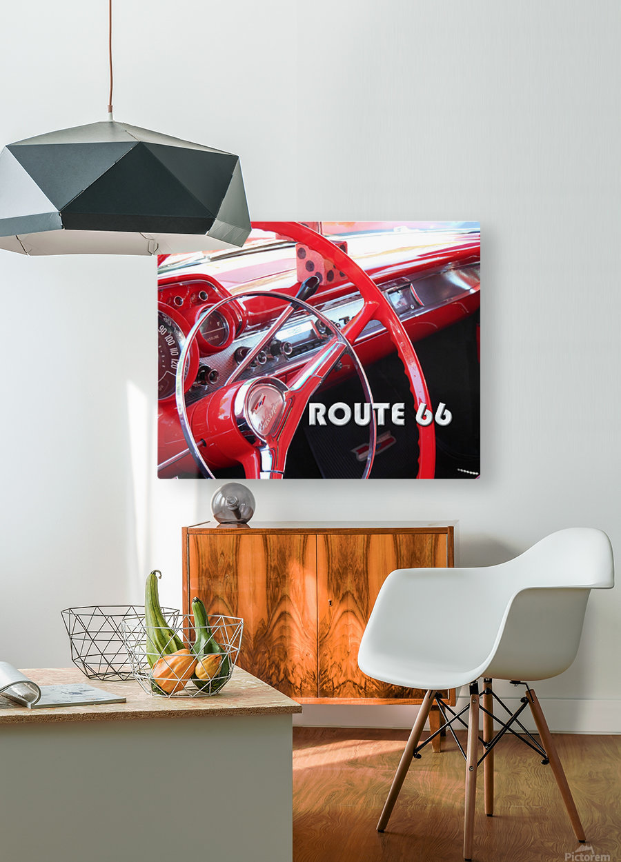 1957 Bel Air Interior - Route 66 Chrome  HD Metal print with Floating Frame on Back