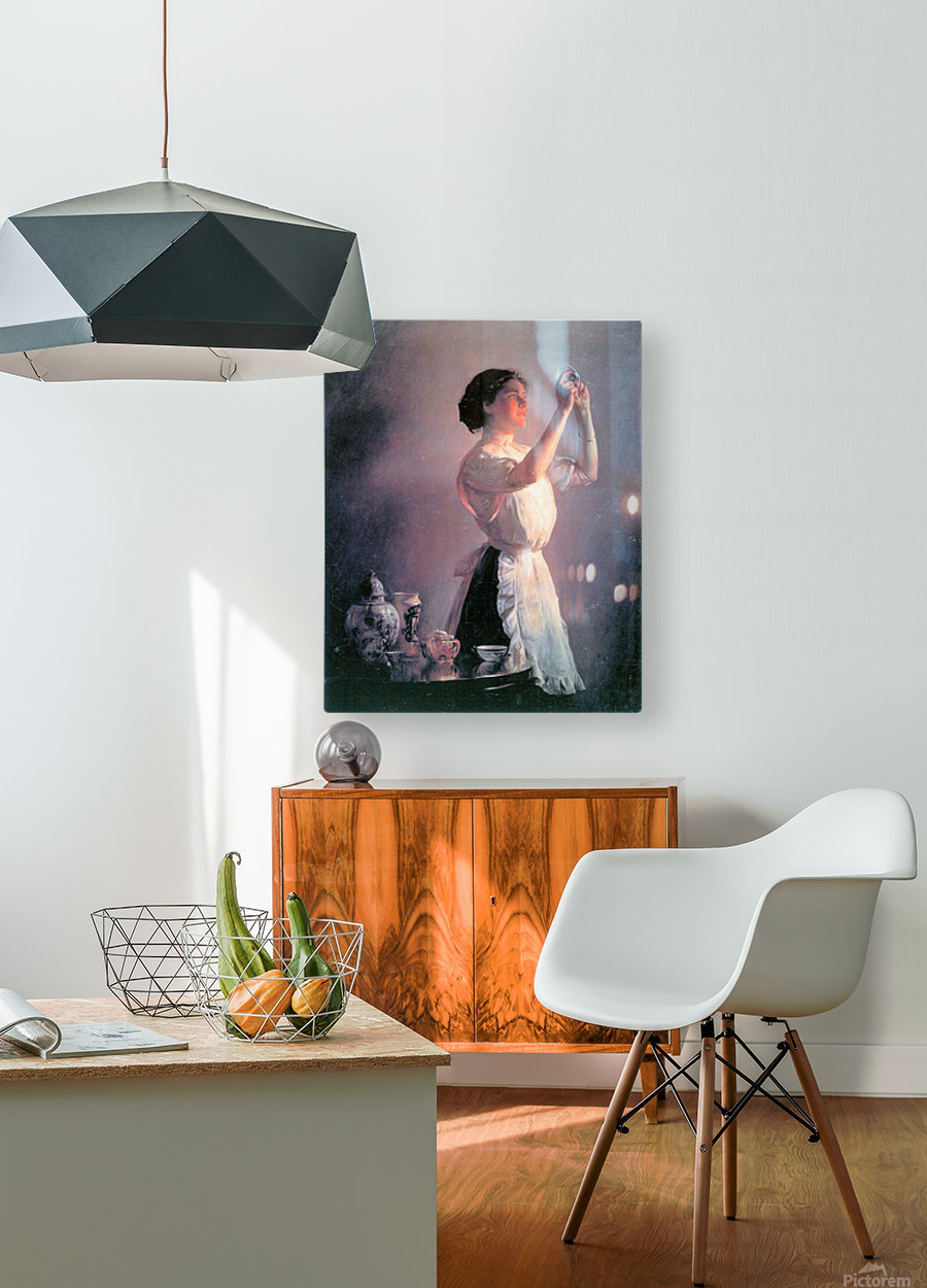The blue cup by Joseph DeCamp  HD Metal print with Floating Frame on Back