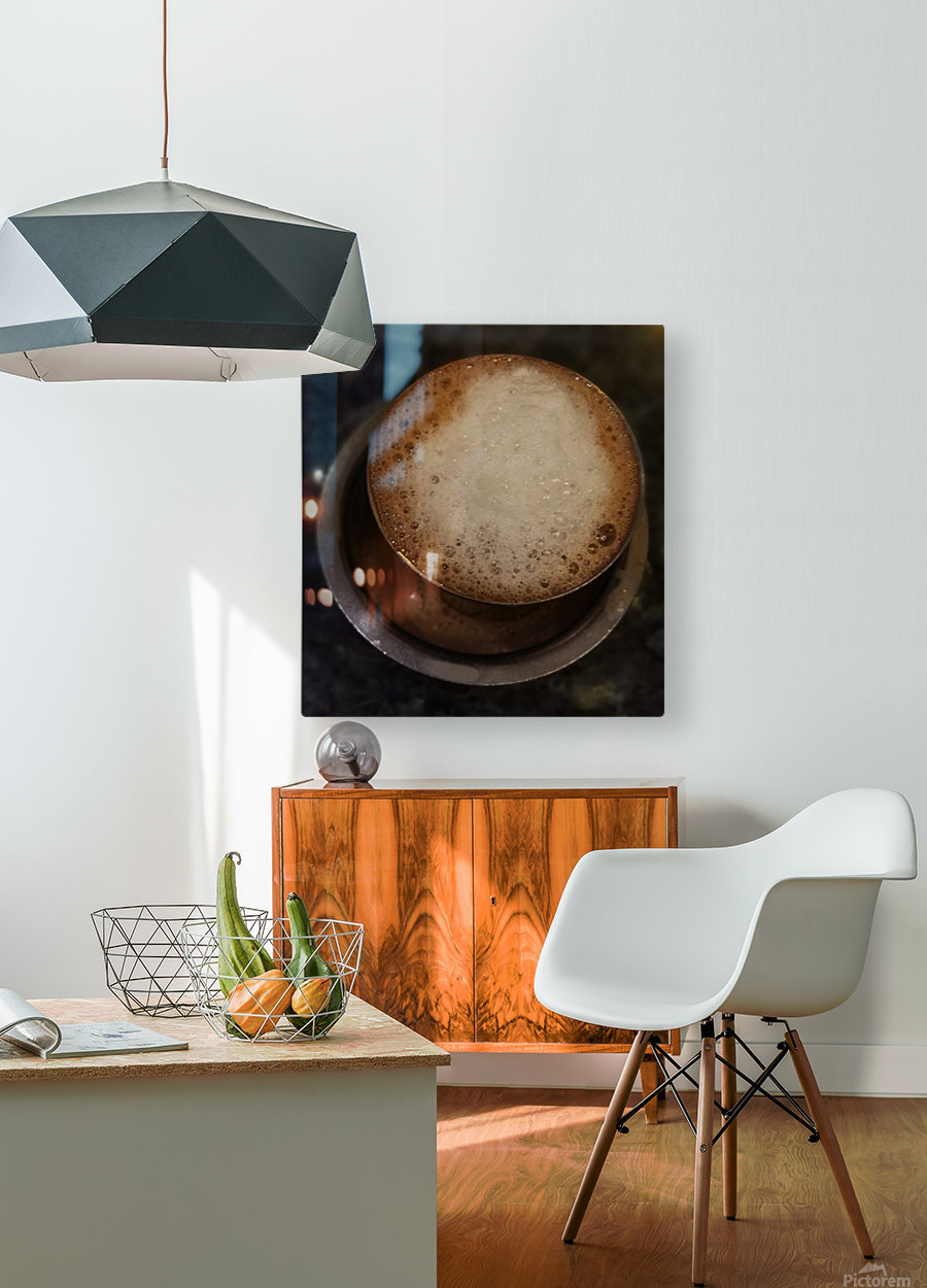 Indian Filter Coffee  HD Metal print with Floating Frame on Back