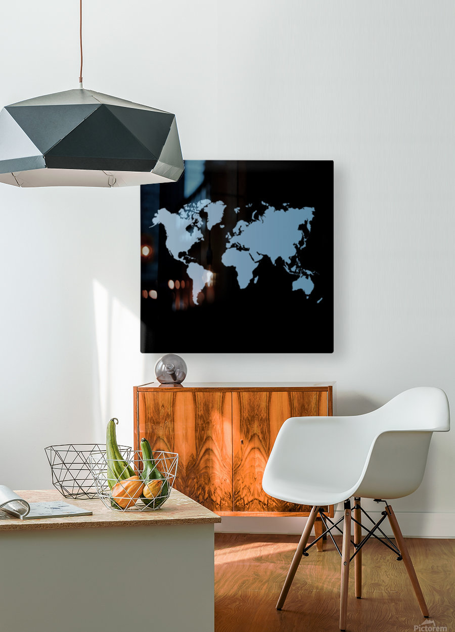 GREY WORLD MAP  HD Metal print with Floating Frame on Back