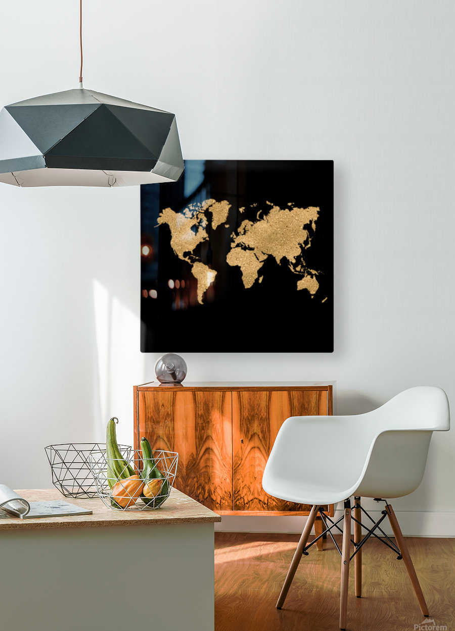 GOLD GLITTER WORLD MAP  HD Metal print with Floating Frame on Back