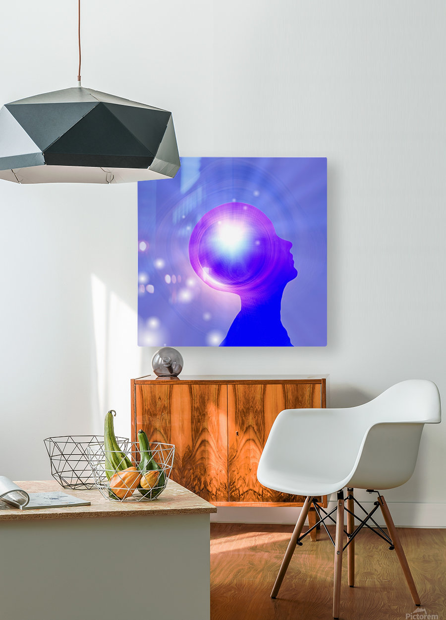 Human Head with Light  HD Metal print with Floating Frame on Back