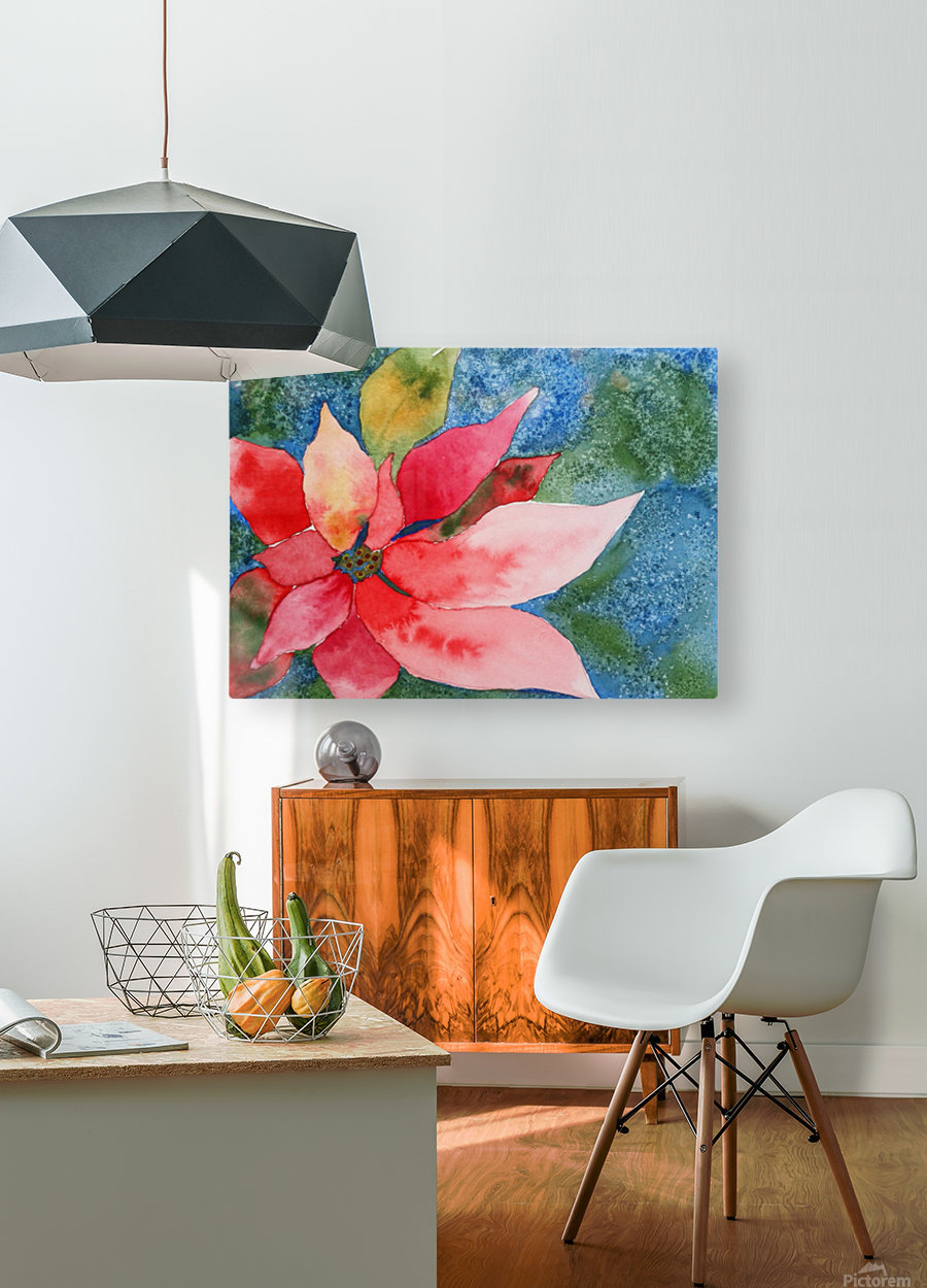 Poinsettia  HD Metal print with Floating Frame on Back