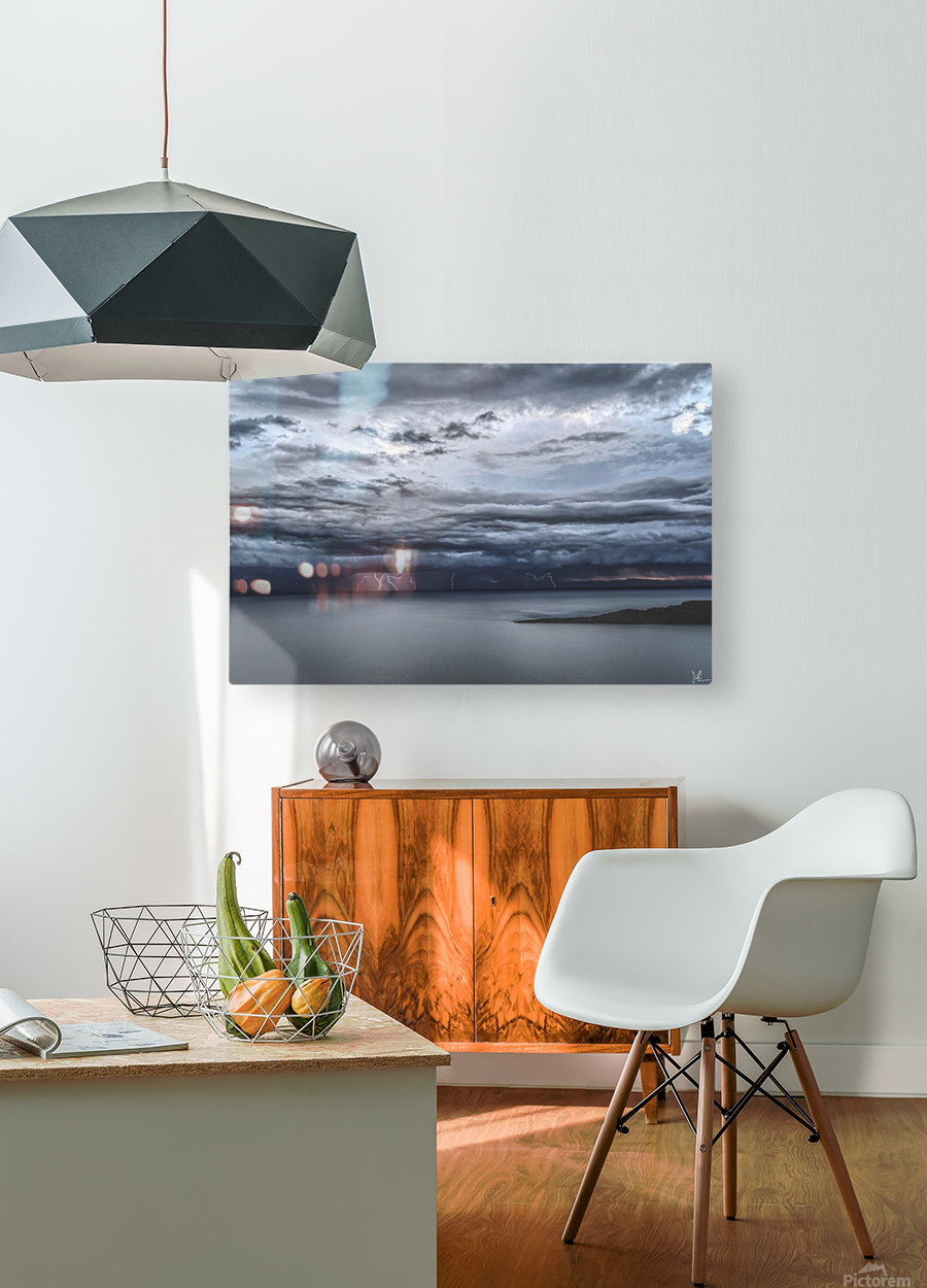 Lightning Over Lake Titicaca  HD Metal print with Floating Frame on Back