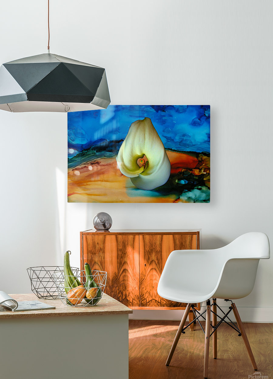 Alcohol Ink and Lily III  HD Metal print with Floating Frame on Back