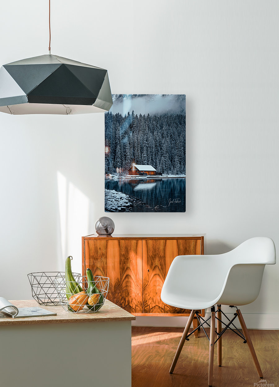 Lake Louise Cabin  HD Metal print with Floating Frame on Back