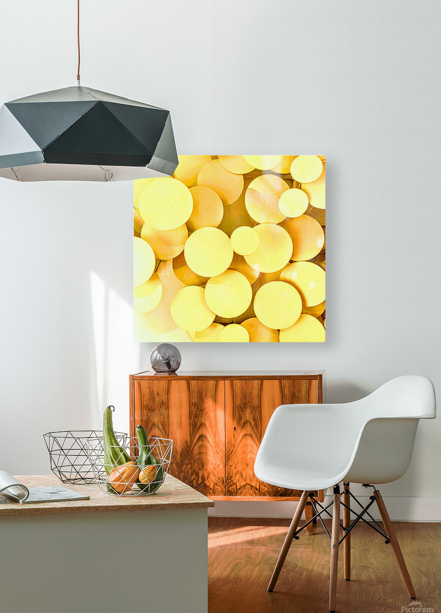 yellow circles  HD Metal print with Floating Frame on Back