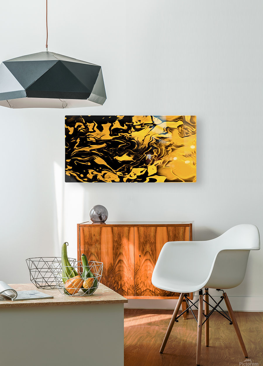 Richer fusion - gold and black gradient abstract wall art  HD Metal print with Floating Frame on Back