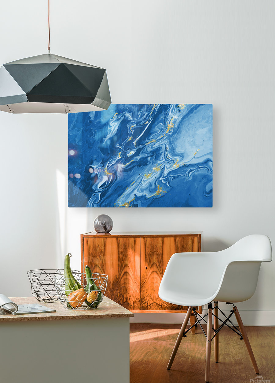 Blue Marble Print  HD Metal print with Floating Frame on Back