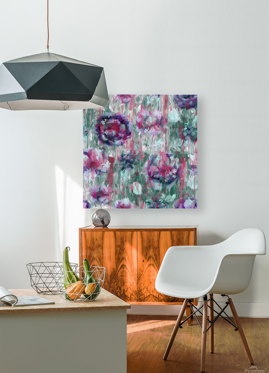 Multicolor Abstract Floral   HD Metal print with Floating Frame on Back