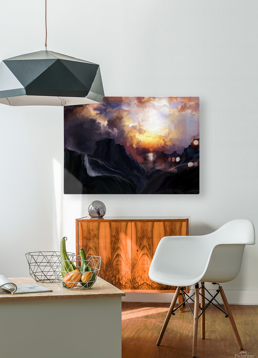Dark Mountains  HD Metal print with Floating Frame on Back