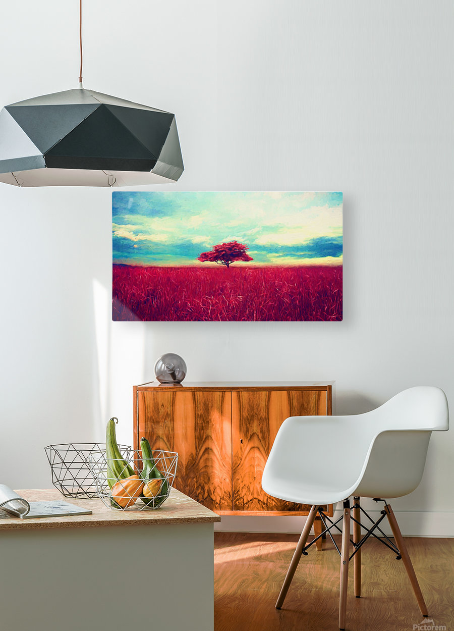 Red Tree  HD Metal print with Floating Frame on Back