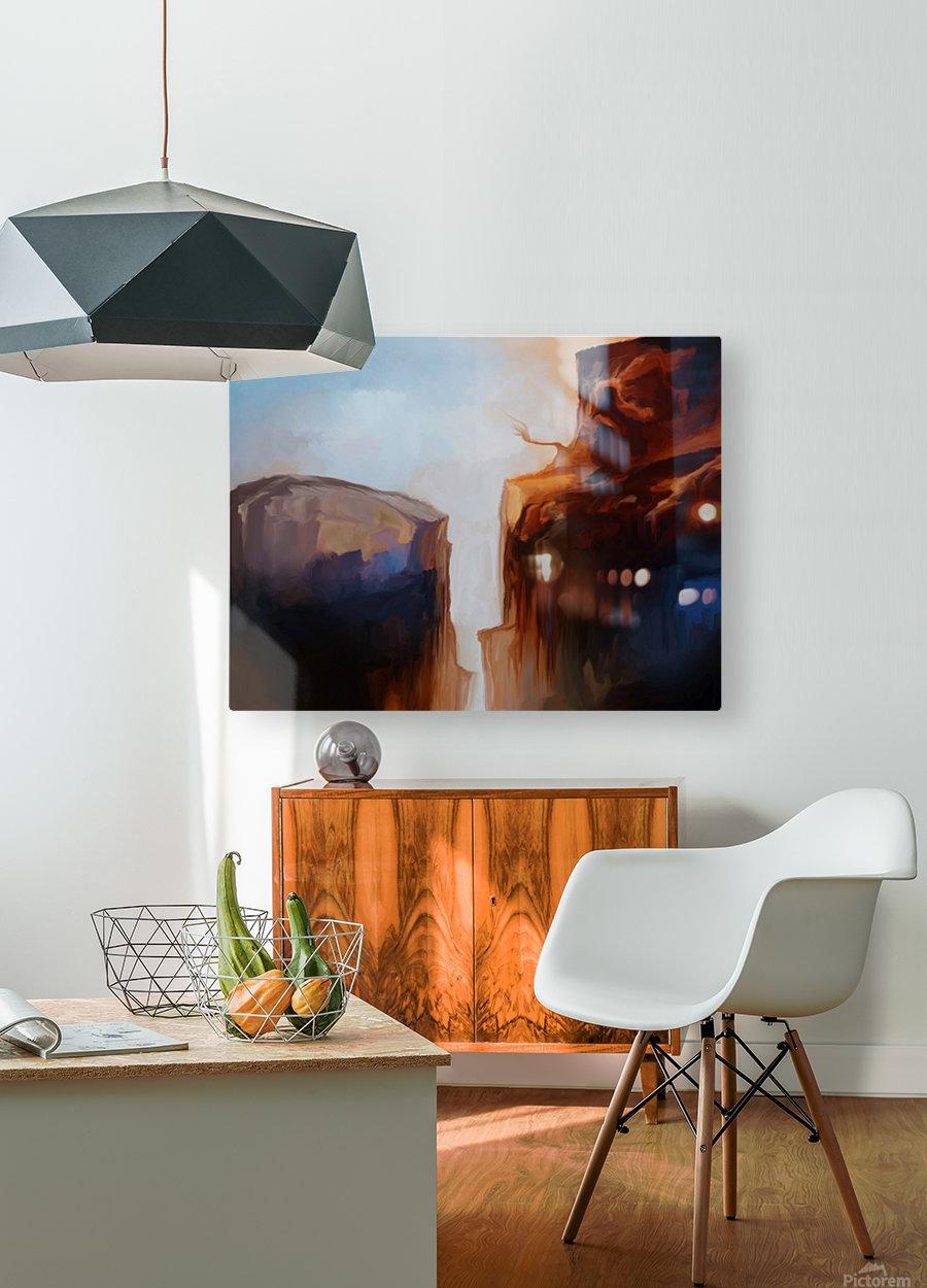 Sharp Cliffs  HD Metal print with Floating Frame on Back
