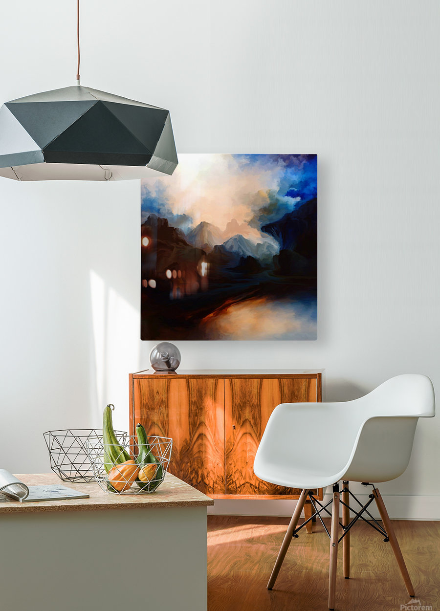 Sunset in the Mountains 25  HD Metal print with Floating Frame on Back