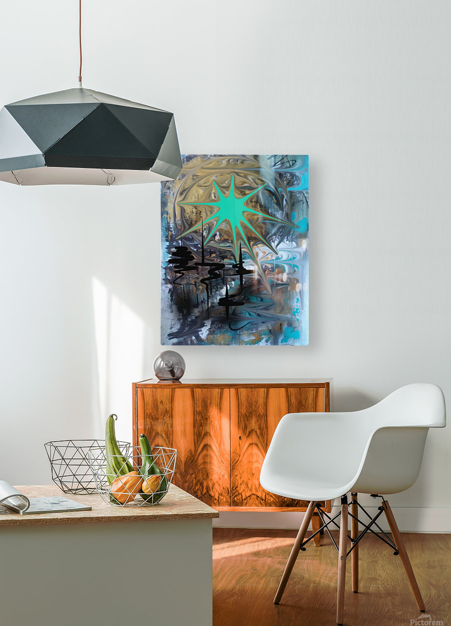 galactic fullmoon  HD Metal print with Floating Frame on Back