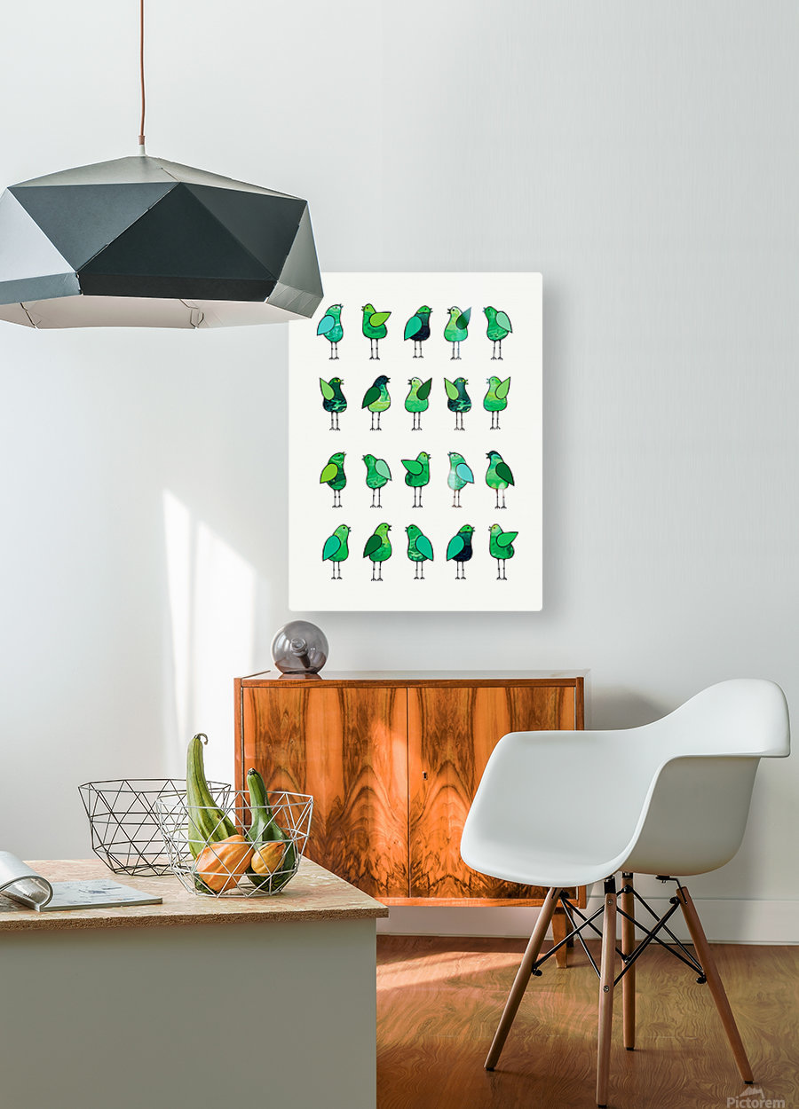 Gossip Birds Green  HD Metal print with Floating Frame on Back