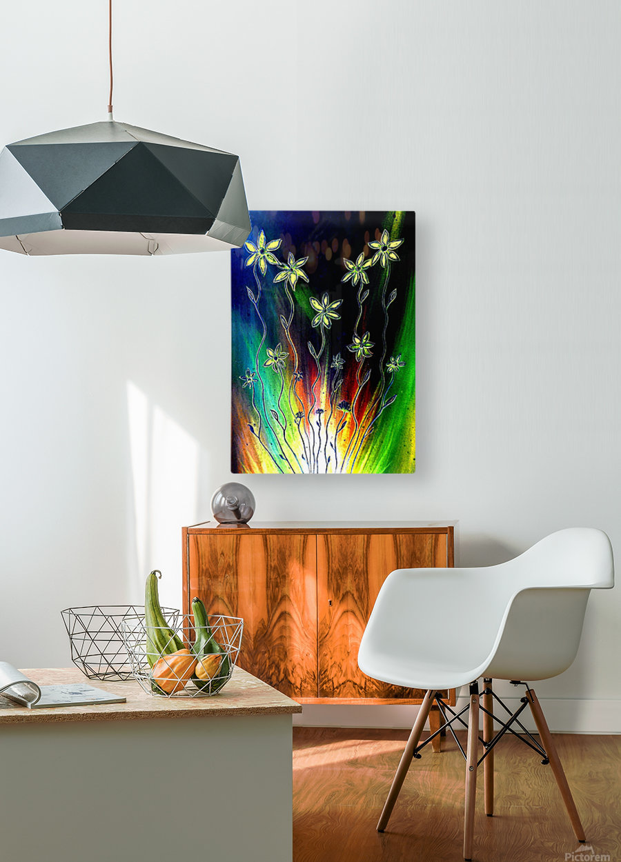 Flower Burst  HD Metal print with Floating Frame on Back