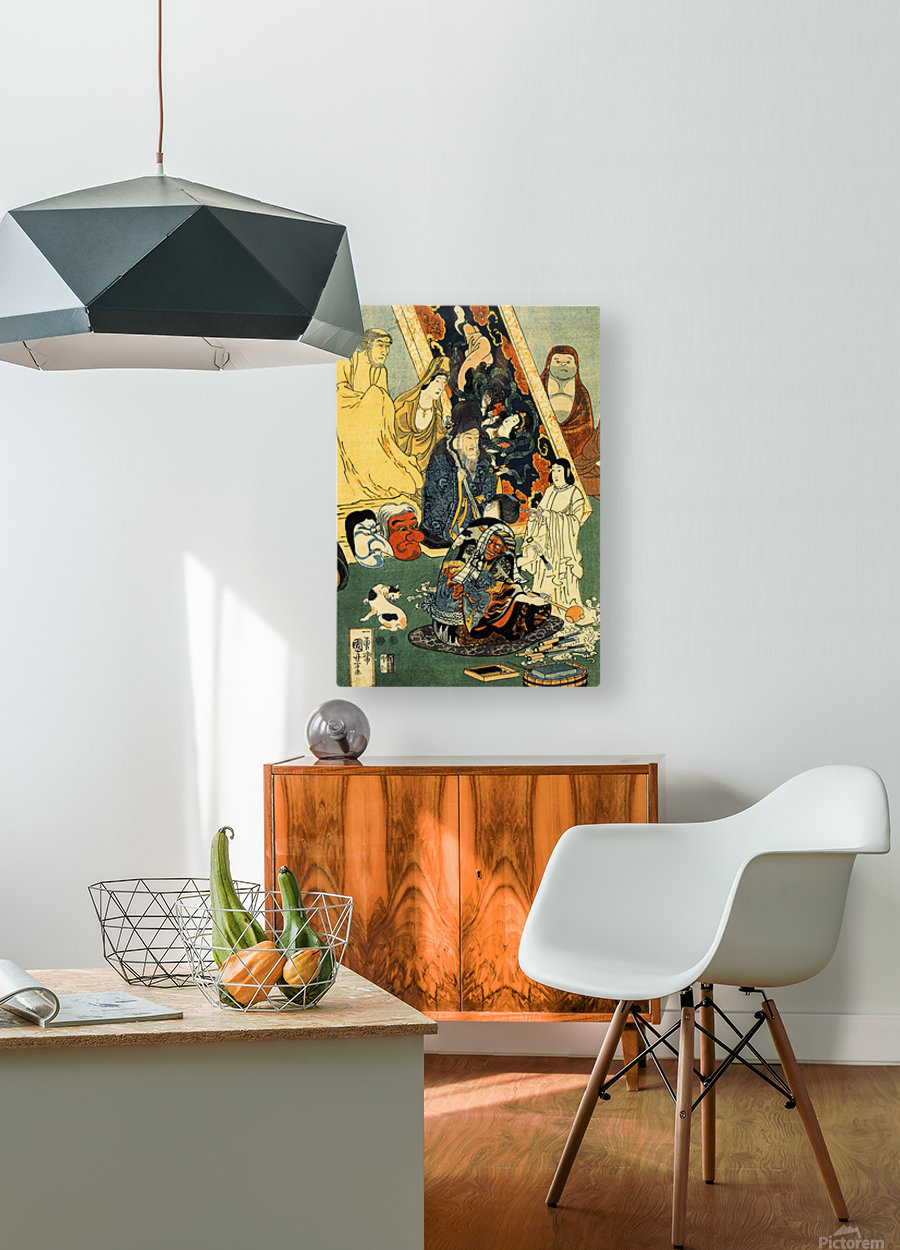 Sculptor Jingoro surrounded by statues  HD Metal print with Floating Frame on Back