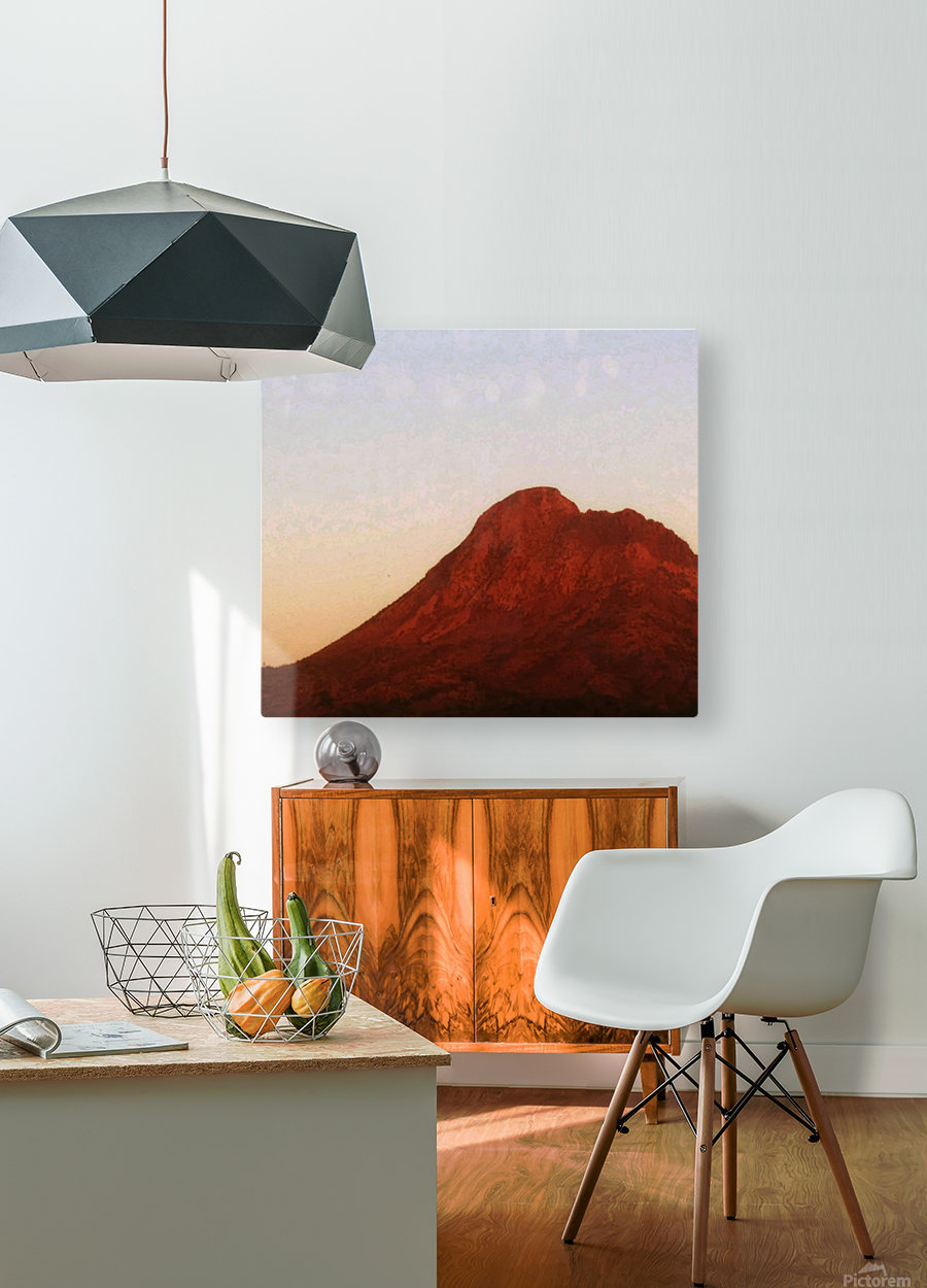 Red mountain side  HD Metal print with Floating Frame on Back