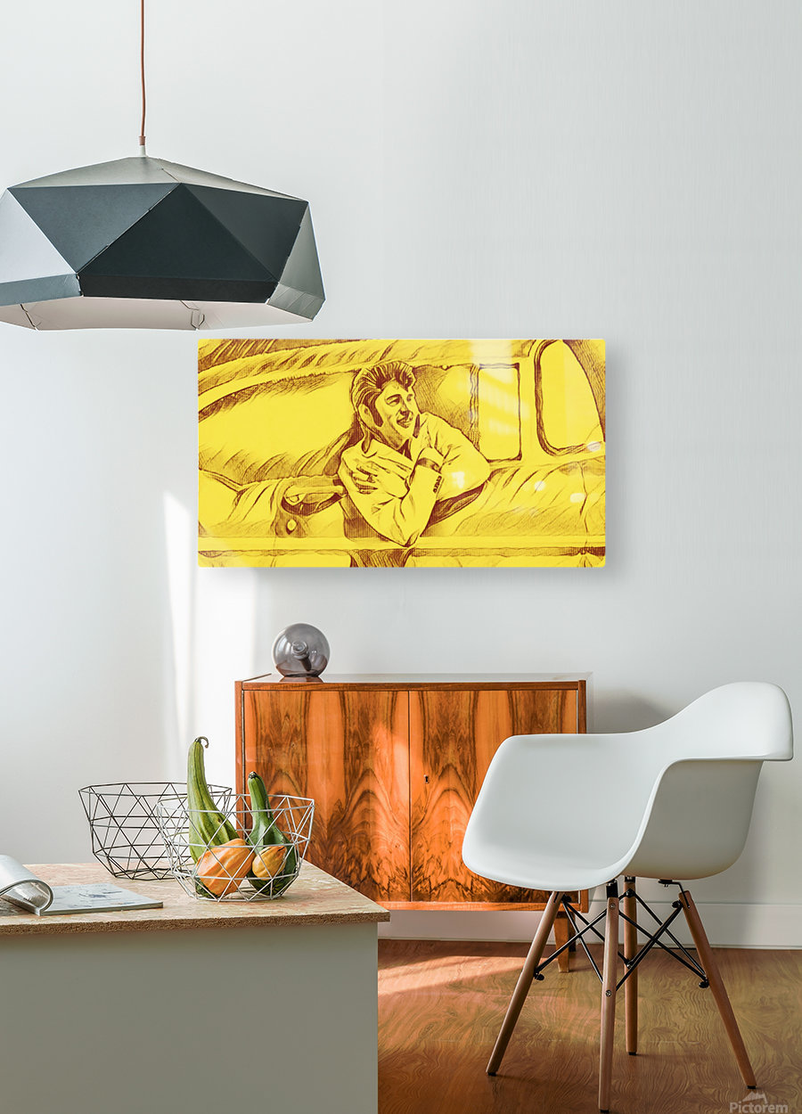 A drawing Of Elvis Presley In a Car Painted Yellow.     HD Metal print with Floating Frame on Back