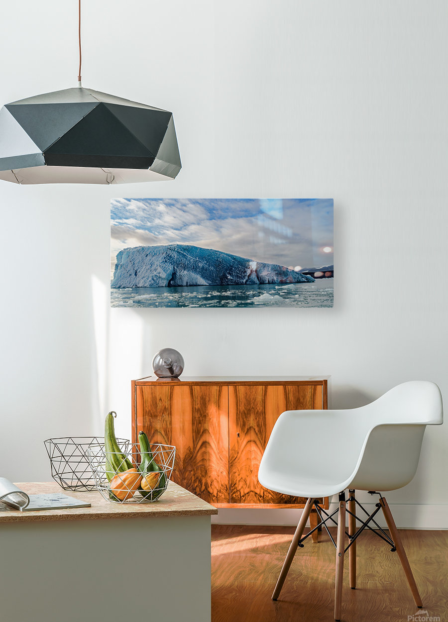 Isolated Iceberg under the gloomy sky -- Jokulsarlon Iceland  HD Metal print with Floating Frame on Back