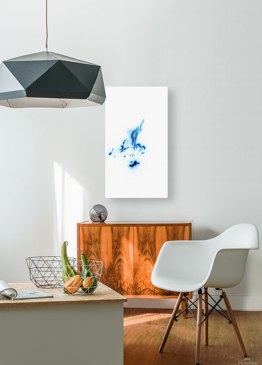 Blue Abstract  HD Metal print with Floating Frame on Back