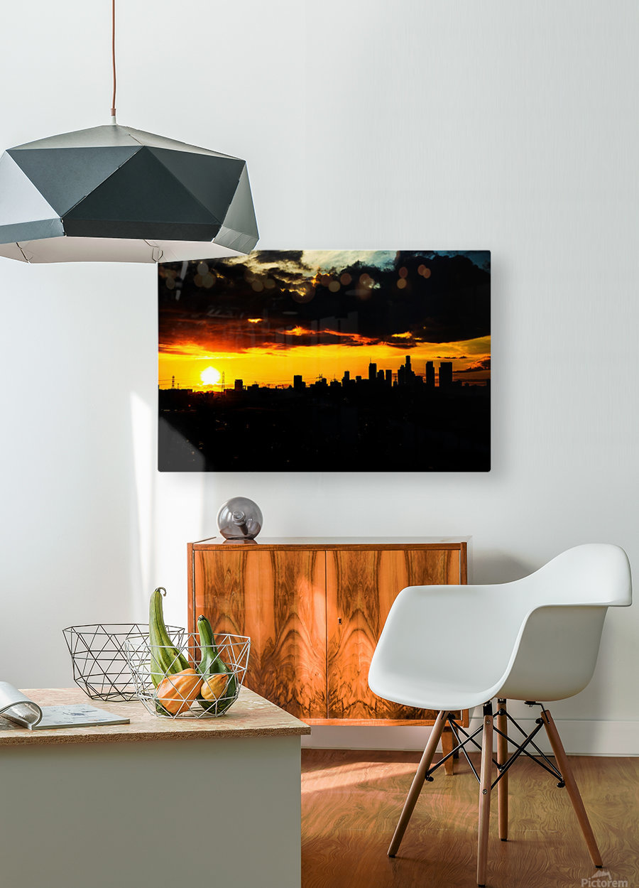 LA On fire  HD Metal print with Floating Frame on Back