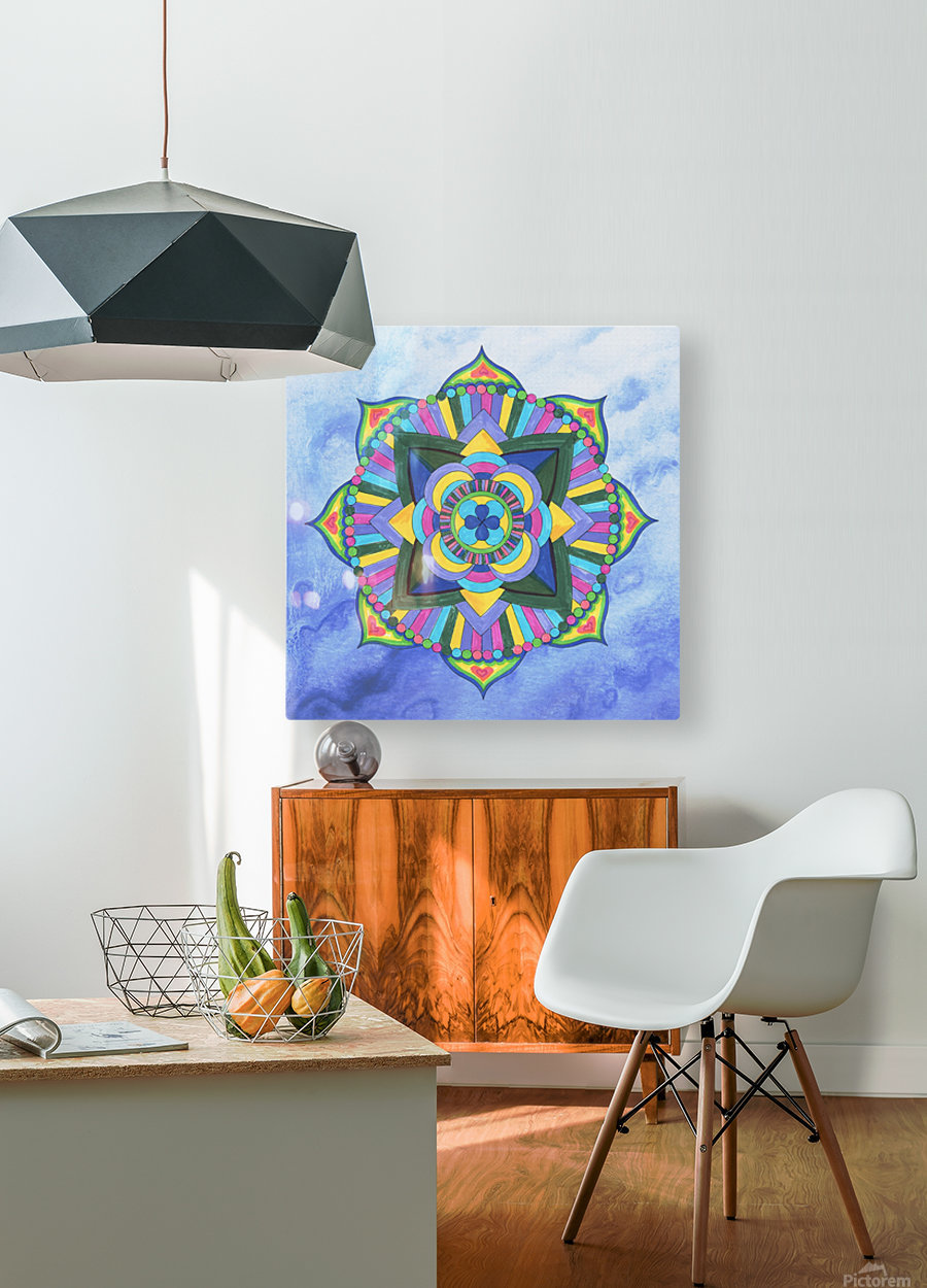 Hand Painted Mandala Watercolor Meditation on Blue  HD Metal print with Floating Frame on Back