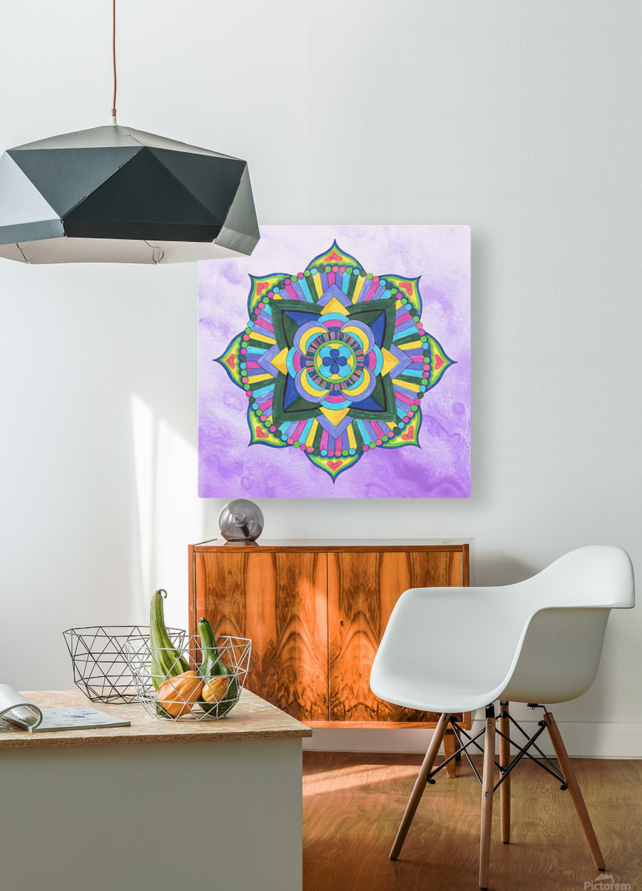 Hand Painted Mandala Watercolor Meditation on Purple  HD Metal print with Floating Frame on Back