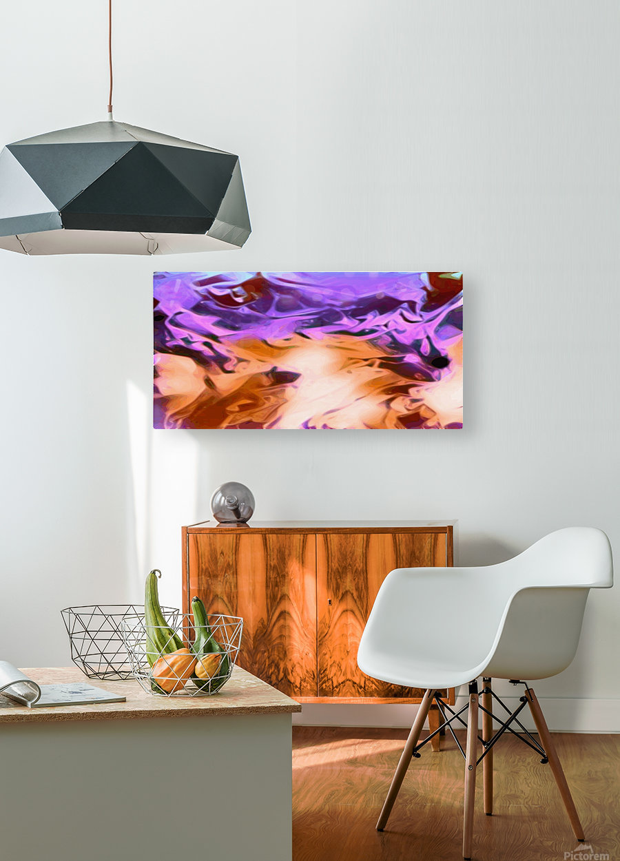 Daydreams - purplea white orange abstract swirls wall art  HD Metal print with Floating Frame on Back