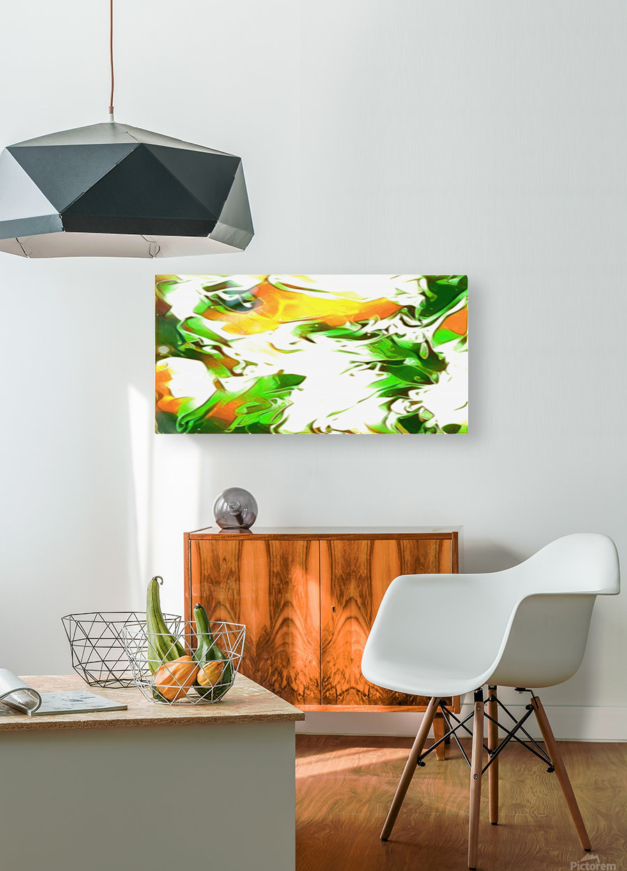 Legendary - green gold and white abstract swirls wall art  HD Metal print with Floating Frame on Back