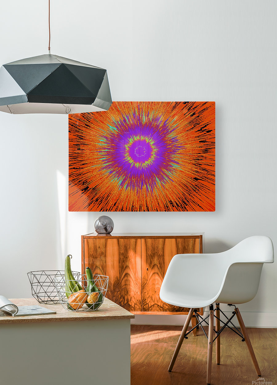 Abstract Sun 33  HD Metal print with Floating Frame on Back