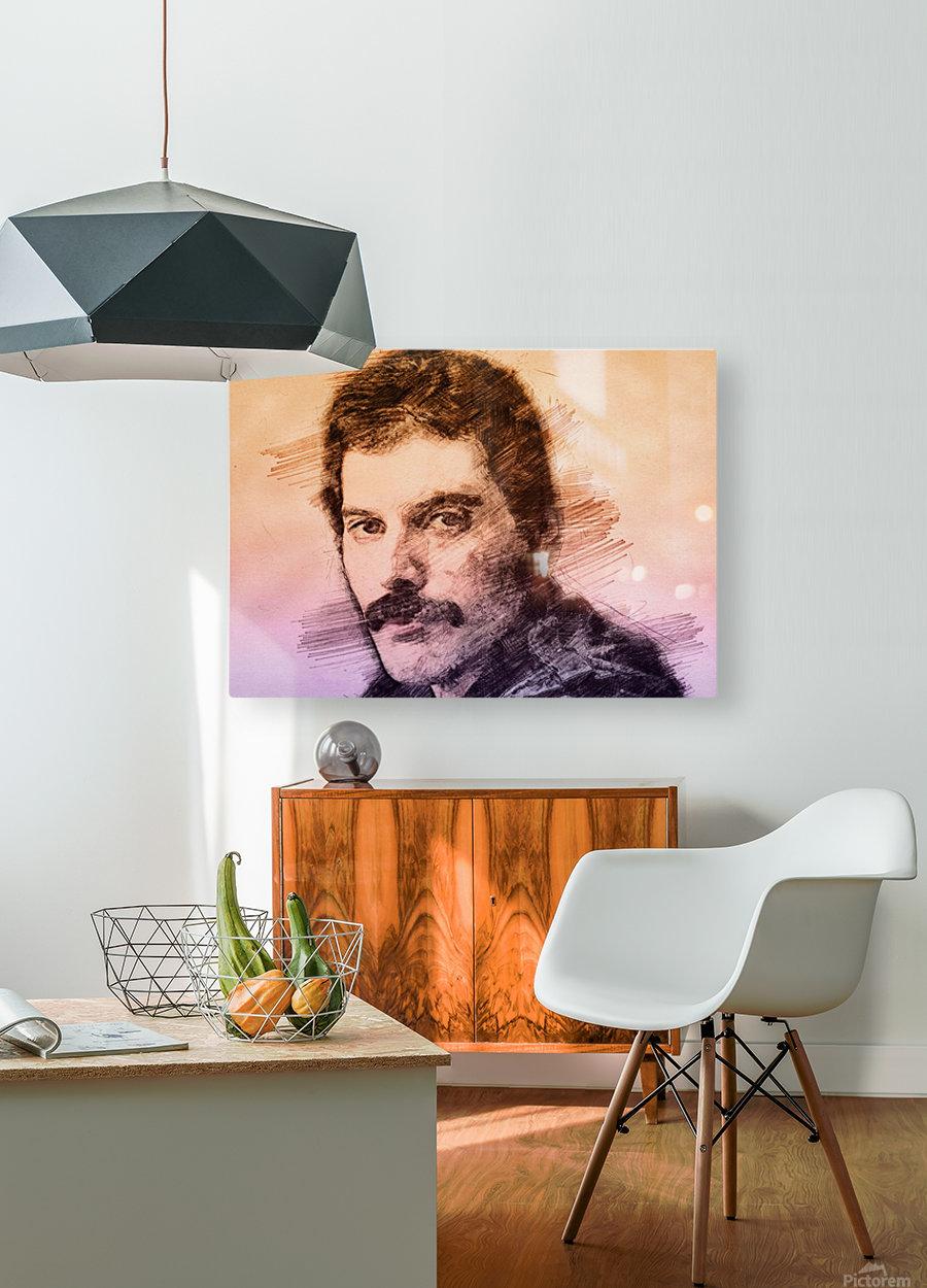 Fredie Mercury  HD Metal print with Floating Frame on Back